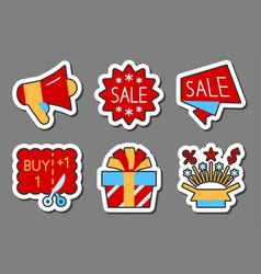 Season sale color icon sticker set flat style vector