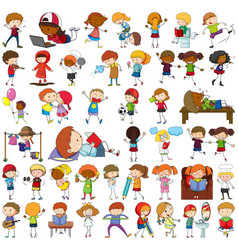 Set different doodle kids cartoon character vector