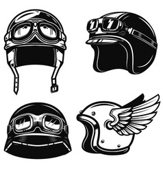 Set of racer helmets on white background design vector