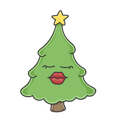 sexy red lips christmas tree cartoon character vector image