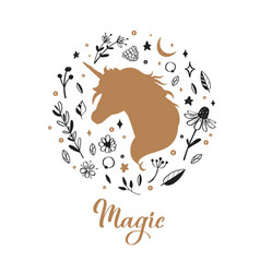 silhouette unicorn in flower rustic vector image