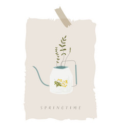 springtime watering can vector image