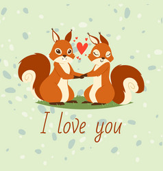squirrels couple in love banner greeting card vector image