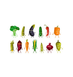 stock set vegetables characters vector image