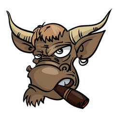 sullen bull with a cigar vector image