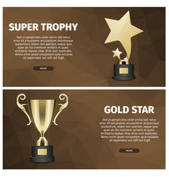 Super trophy and gold star web banners vector