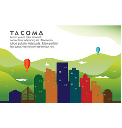 Tacoma washington city building cityscape skyline vector