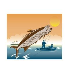 Tarpon fish jumping reeled by fisherman vector