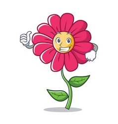 thumbs up pink flower character cartoon vector image vector image