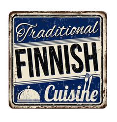 Traditional finnish cuisine vintage rusty metal vector