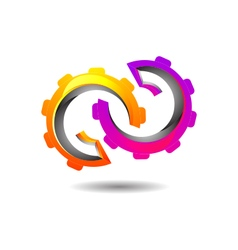Vibrant abstract mechanism logo icon vector