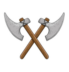 viking axes colored hand drawn sketch vector image vector image