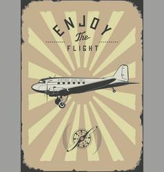 Vintage passenger plane wall art rpint brown color vector