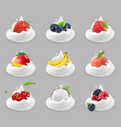 Whipped cream with fruits and berries 3d icon set vector