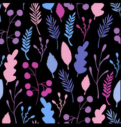 wild forest leaves seamless pattern blue branch vector image
