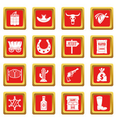 Wild west icons set red vector
