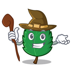 Witch mint leaves mascot cartoon vector