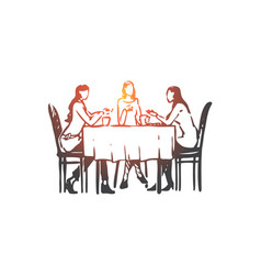 Women restaurant table dishes vector
