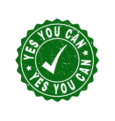 yes you can scratched stamp with tick vector image