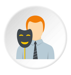 Businessman holding fake mask smile icon circle vector