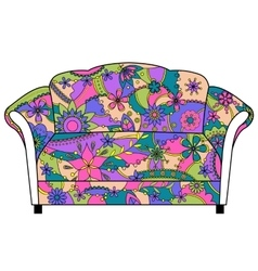 Couch painted colorful silhouette vector image vector image