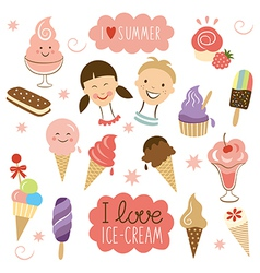 Ice Cream sweet collection vector image vector image