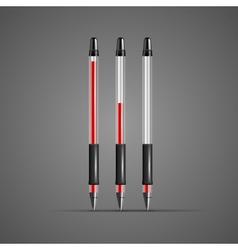Set of transparent red gel pens vector image vector image