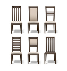 set of wooden chairs vector image vector image