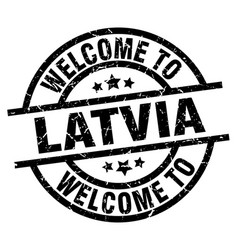 welcome to latvia black stamp vector image vector image