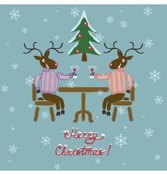 Christmas deer in sweater vector