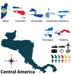 Maps with flags of Central America vector image vector image