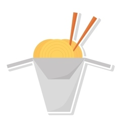 Spaghetti with chopsticks isolated icon vector