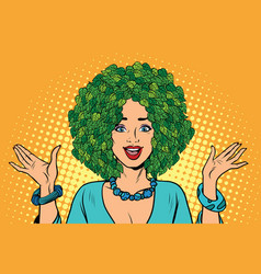 eco woman hair green plants nature vector image