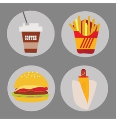 Set of icons fast food coffee potato hamburger hot vector image vector image