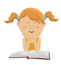 smart little girl sitting with an open book vector image vector image