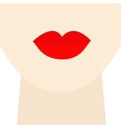 Woman neck and face with big thick red lips Flat vector image