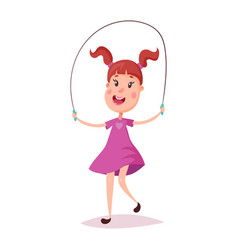 young happy girl jumping with skipping rope vector image vector image