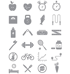 Gray healthy lifestyle icons set vector image vector image