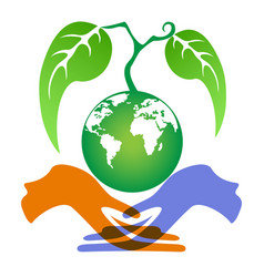 hands holding earth plant vector image vector image