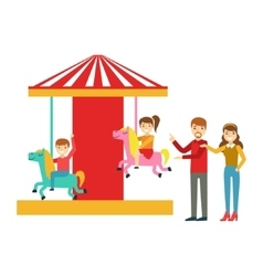 Parents Watching Kid Riding On Merry-Go-Round vector image