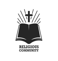 religious community holy bible icon with the cross vector image
