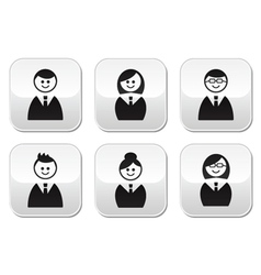 Users icons - glossy buttons set vector image