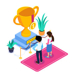 3d isometric business succes concept gold cup for vector image