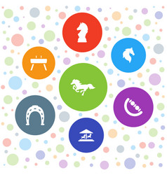 7 horse icons vector image