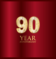 90 year anniversary gold with red background vector