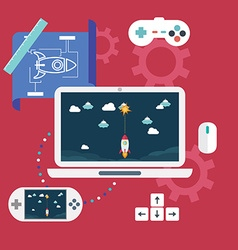 Abstract flat of game development concepts vector image