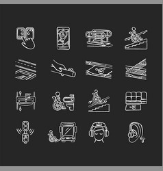 Accessibility facilities chalk white icons set vector