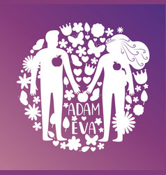 adam and eve silhouettes couple in love with vector image