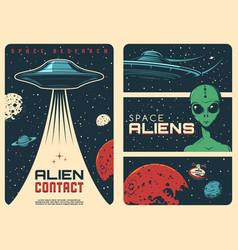 Alien contact ufo spaceship vintage banners vector