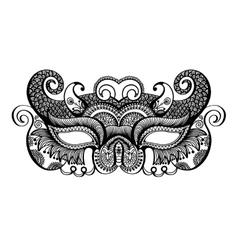 Black lineart venetian carnival mask silhouette vector